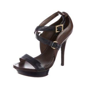 Tory Burch Open Toe Strappy Buckle Stiletto Heels
